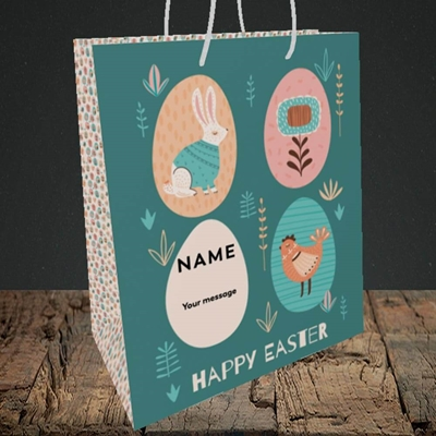 Picture of Easter Egg Farm(Without Photo), Easter Design, Medium Portrait Gift Bag