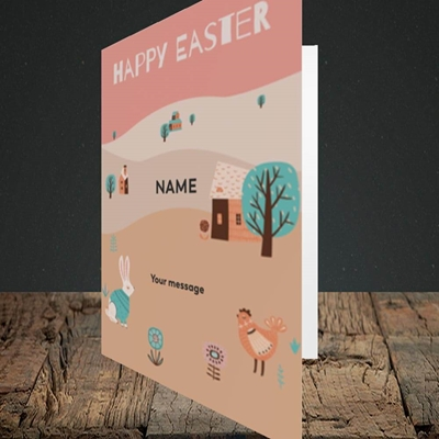 Picture of Easter Farm(Without Photo), Easter Design, Portrait Greetings Card