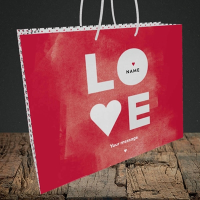 Picture of Love Type (stacked) (Without Photo), Valentine's Design, Medium Landscape Gift Bag