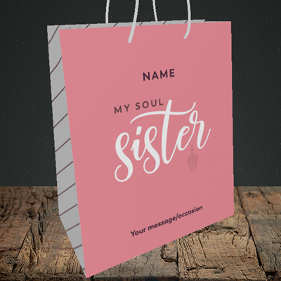 Picture of Soul Sister, (Without Photo) Birthday Design, Medium Portrait Gift Bag