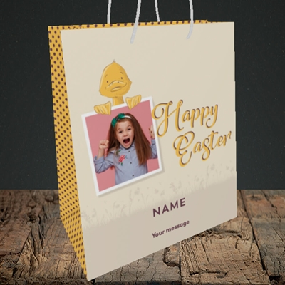 Picture of Duckling Polaroid, Easter Design, Medium Portrait Gift Bag