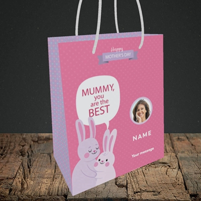 Picture of Mummy You Are The Best Bunny, Mother's Day Design, Small Portrait Gift Bag
