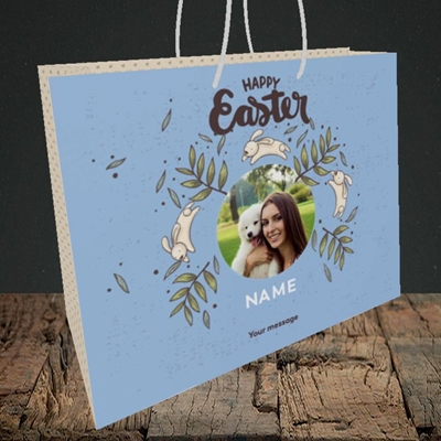 Picture of Running Bunnies, Easter Design, Medium Landscape Gift Bag