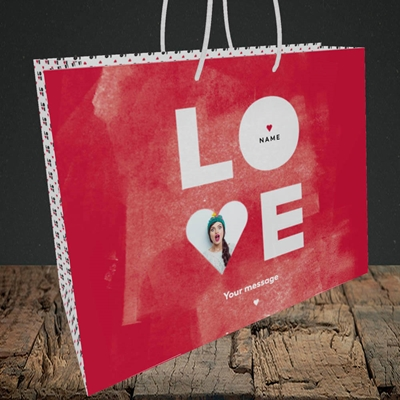 Picture of Love Type (stacked), Valentine's Design, Medium Landscape Gift Bag