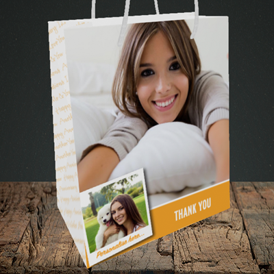 Picture of Photo, Thank You Design, Medium Portrait Gift Bag