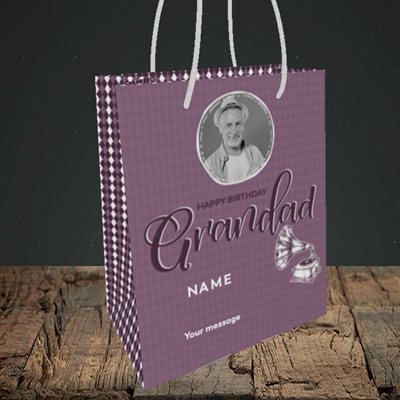 Picture of Grandad Gramophone, Birthday Design, Small portrait Gift Bag