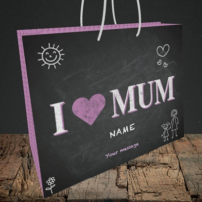 Picture of I Love Mum (Chalk Board),(Without Photo), Medium Landscape Gift Bag