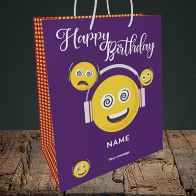 Picture of Smileys, (Without Photo) Birthday Design, Medium Portrait Gift Bag