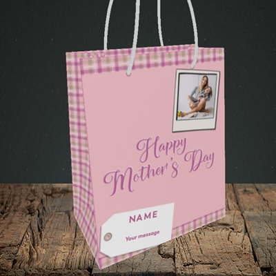 Picture of 2. Polaroid(Chequer), Mother's Day Design, Small Portrait Gift Bag