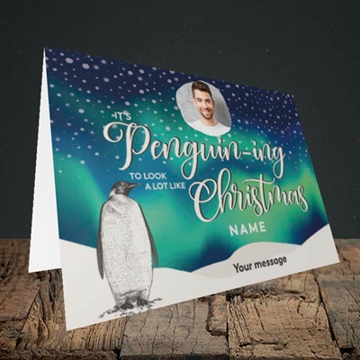 Picture of It's Penguin-ing, Christmas Design, Landscape Greetings Card