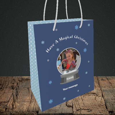 Picture of Snow Globe, Christmas Design, Small Portrait Gift Bag