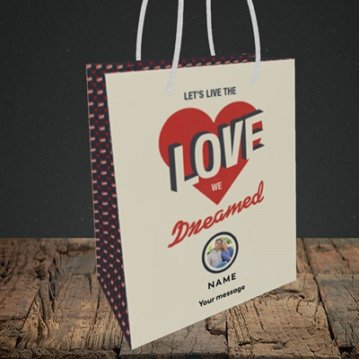 Picture of Let's Live The Love, Valentine's Design, Small Portrait Gift Bag