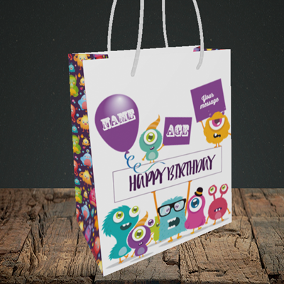 Picture of Monster, (Without Photo and editable age) Birthday Design, Small Portrait Gift Bag