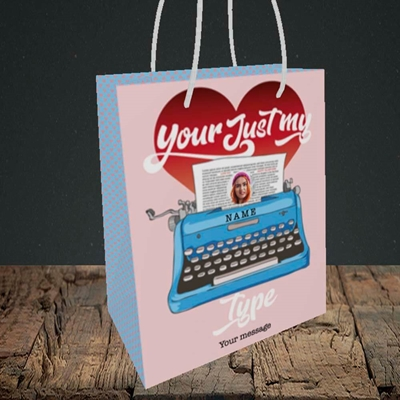 Picture of Just My Type, Valentine's Design, Small Portrait Gift Bag