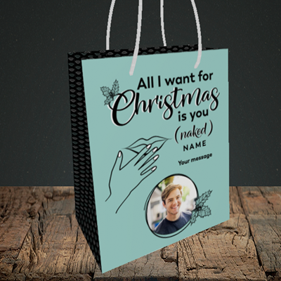 Picture of Naked Christmas, Christmas Design, Small Portrait Gift Bag