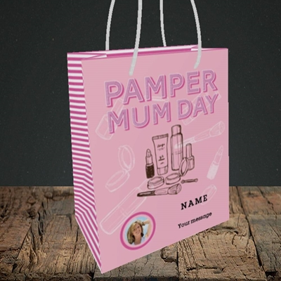 Picture of Pamper Mum Day, Mother's Day Design, Small Portrait Gift Bag