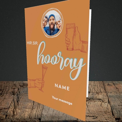 Picture of Hip, Sip, Hooray, Celebration Design, Portrait Greetings Card