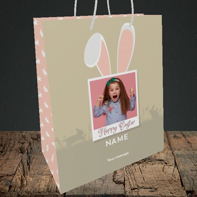 Picture of Hoppy Polaroid, Easter Design, Medium Portrait Gift Bag