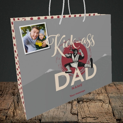 Picture of Kick-Ass Dad, Father's Day Design, Medium Landscape Gift Bag