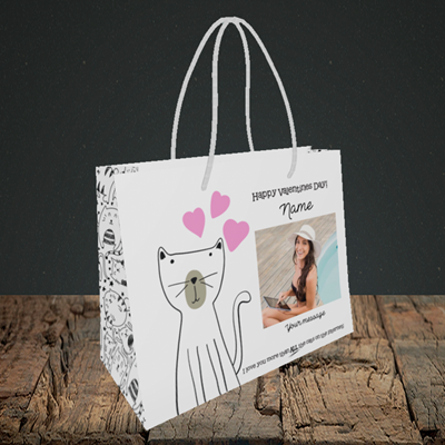 Picture of Cat, Valentine's Design, Small Landscape Gift Bag