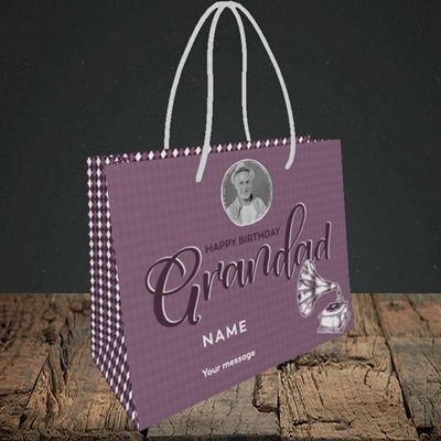 Picture of Grandad Gramophone, Birthday Design, Small Landscape Gift Bag