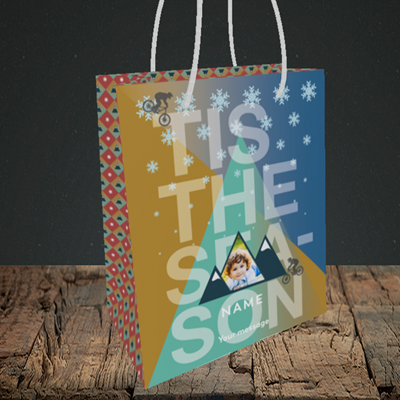 Picture of MTB Rider, Christmas Design, Small Portrait Gift Bag