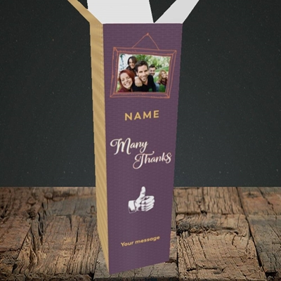 Picture of Many Thanks, Thank You Design, Upright Bottle Box