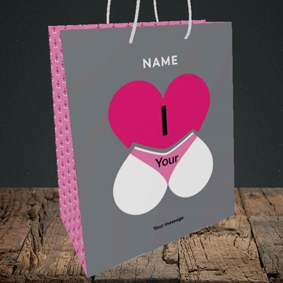 Picture of I Love Your Bum(Without Photo), Valentine's Design, Medium Portrait Gift Bag