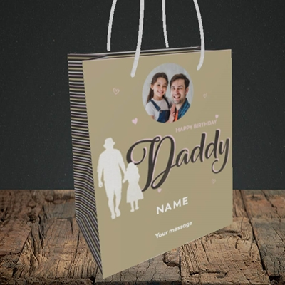 Picture of Daddy & Daughter, Birthday Design, Small portrait Gift Bag
