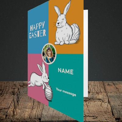 Picture of 4 Colour Bunnies, Easter Design, Portrait Greetings Card