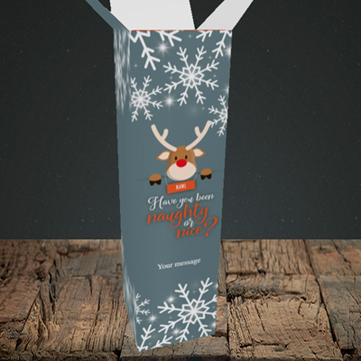 Picture of Naughty, (Without Photo) Christmas Design, Upright Bottle Box