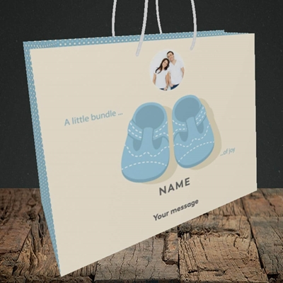 Picture of Little Bundle-Boy, New Baby Design, Medium Landscape Gift Bag