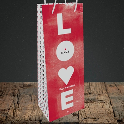 Picture of Love Type (stacked) (Without Photo), Valentine's Design, Bottle Bag
