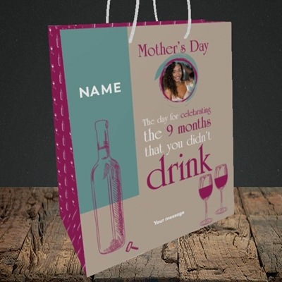 Picture of Didn't Drink, Mother's Day Design, Medium Portrait Gift Bag