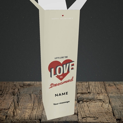 Picture of let's live the love (Without Photo), Valentine's Design, Upright Bottle Box