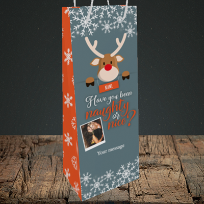 Picture of Naughty, Christmas Design, Bottle Bag