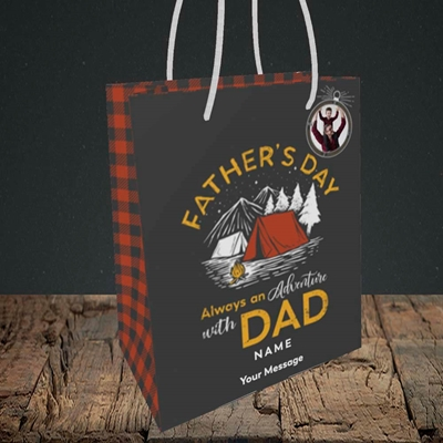Picture of Adventure With Dad, Father's Day Design, Small Portrait Gift Bag