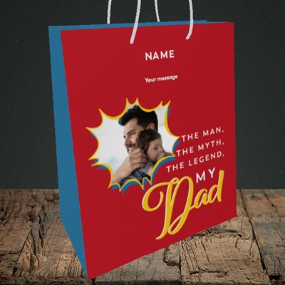 Picture of Man, Myth, Legend, Father's Day Design, Medium Portrait Gift Bag