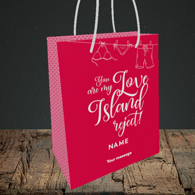 Picture of Love Island Reject, (Without Photo) Valentine's Design, Small Portrait Gift Bag