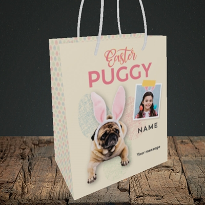 Picture of Easter Puggy, Easter Design, Small Portrait Gift Bag