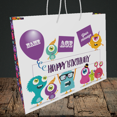 Picture of Monster, (Without Photo and editable age) Birthday Design, Medium Landscape Gift Bag