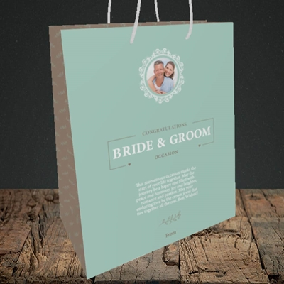 Picture of Traditional Foliage Teal B&G, Wedding Design, Medium Portrait Gift Bag