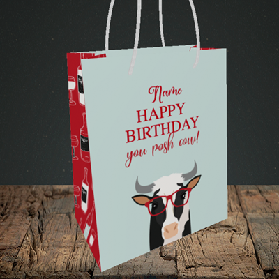 Picture of Cow, (Without Photo) Birthday Design, Small Portrait Gift Bag