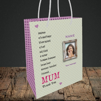 Picture of Mum, Thank you, Small Portrait Gift Bag