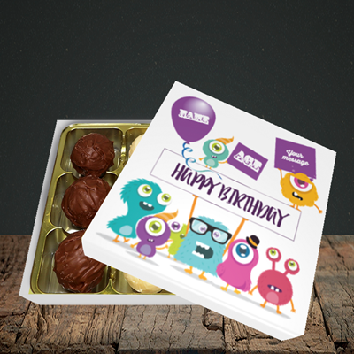 Picture of Monster, (Without Photo and editable age) Birthday Design, Choc 9