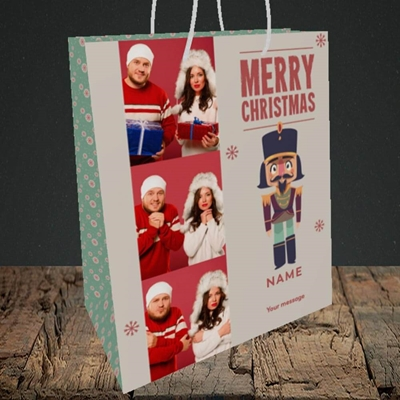 Picture of Merry Nutcracker, Christmas Design, Medium Portrait Gift Bag