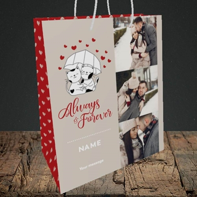 Picture of Always & Forever, Valentine's Design, Medium Portrait Gift Bag