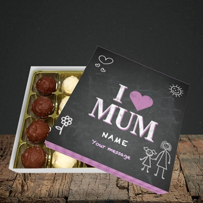 Picture of I Love Mum (Chalk Board),(Without Photo), Choc 16