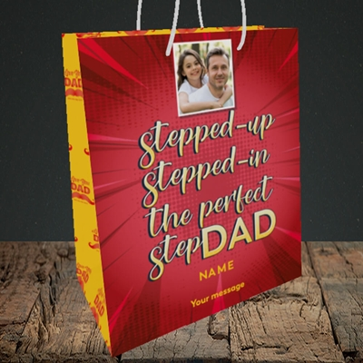 Picture of Stepped Up, Father's Day Design, Medium Portrait Gift Bag