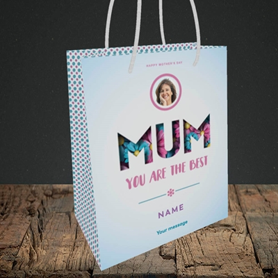 Picture of Mum You Are The Best (flower cut out), Small Portrait Gift Bag